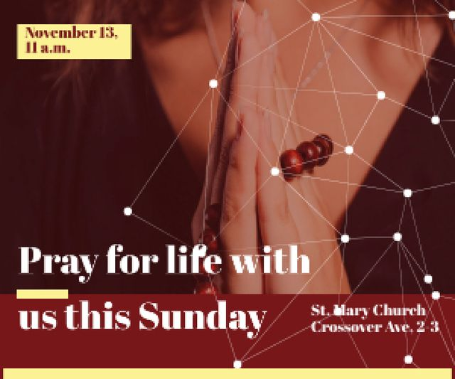 Ontwerpsjabloon van Medium Rectangle van Religion citation about prayer