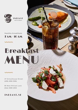 Ontwerpsjabloon van Poster van Breakfast Menu Offer with Greens and Vegetables