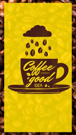 Platilla de diseño Coffee Beans falling Into Cup from Cloud Instagram Story