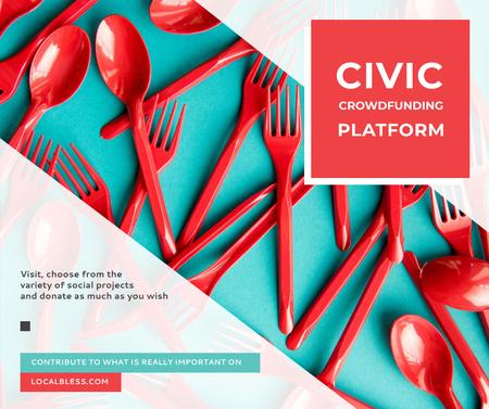 Crowdfunding Platform Red Plastic Tableware Facebook Modelo de Design