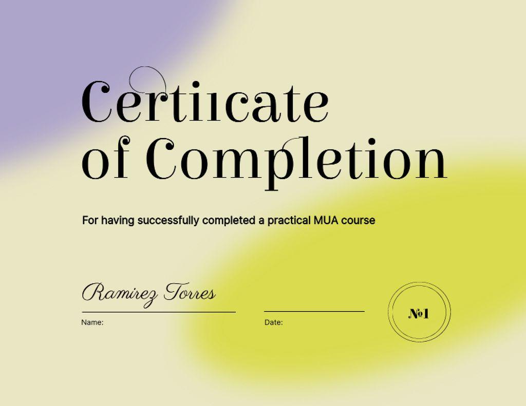 Beauty Course Completion Award Certificate – шаблон для дизайну