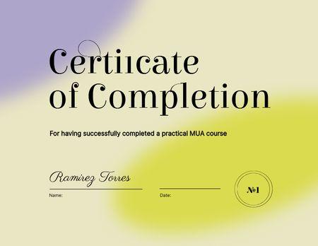 Beauty Course Completion Award Certificate Modelo de Design