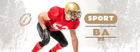 Sport Bar Ad with American Football Player Facebook cover – шаблон для дизайну