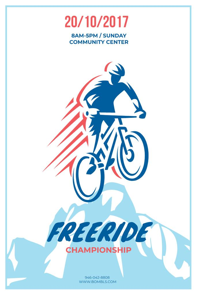 Freeride Championship Announcement with Cyclist in Mountains — Crea un design