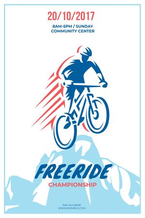 Freeride Championship Announcement with Cyclist in Mountains Pinterest Design Template