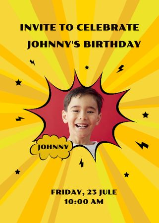 Template di design Birthday Party Announcement with Smiling Kid Invitation