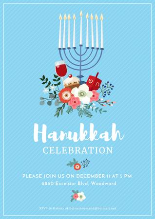 Designvorlage Invitation to Hanukkah celebration für Poster