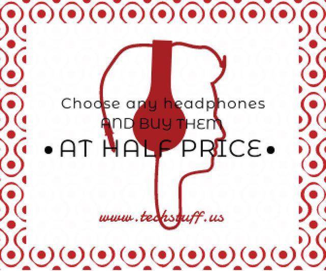 Headphones sale advertisement Large Rectangle Design Template