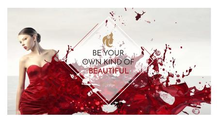 Plantilla de diseño de Beauty quote with Young attractive Woman FB event cover