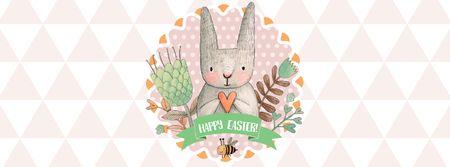 Easter Greeting with Cute Bunny Facebook cover Modelo de Design