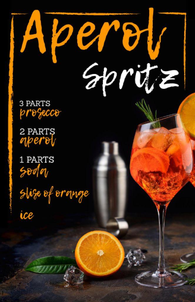 Summer Cocktail in Glass with Orange Recipe Card – шаблон для дизайна