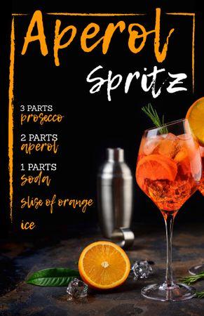 Ontwerpsjabloon van Recipe Card van Summer Cocktail in Glass with Orange