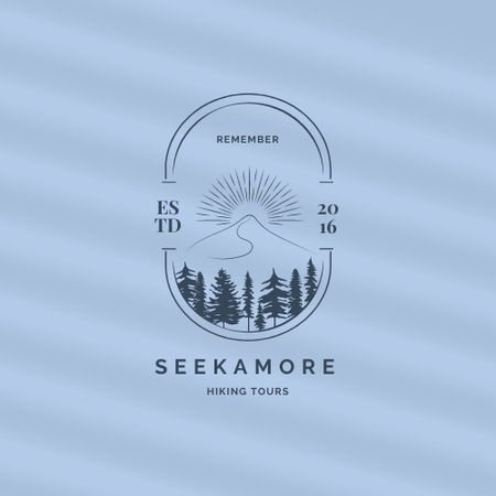 Hiking Tours Offer with Mountain Landscape Illustration Logo – шаблон для дизайну
