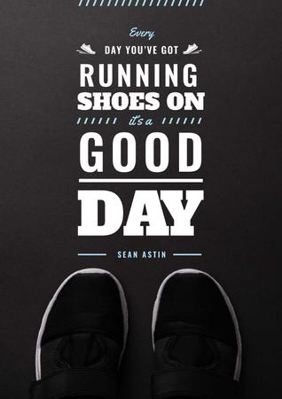 Ontwerpsjabloon van Poster van Sports Inspiration Quote with Pair of Athletic Shoes
