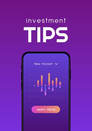 Investment Tips on Phone screen Poster Tasarım Şablonu