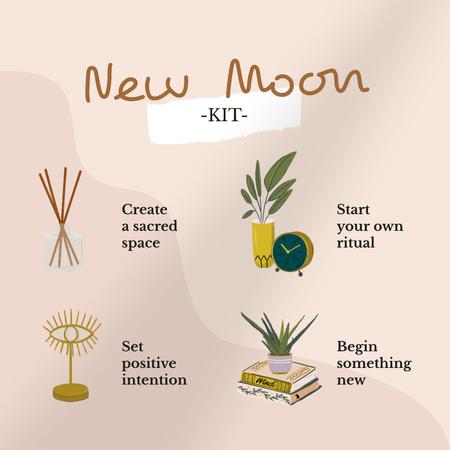 New Moon Kit illustration Instagramデザインテンプレート