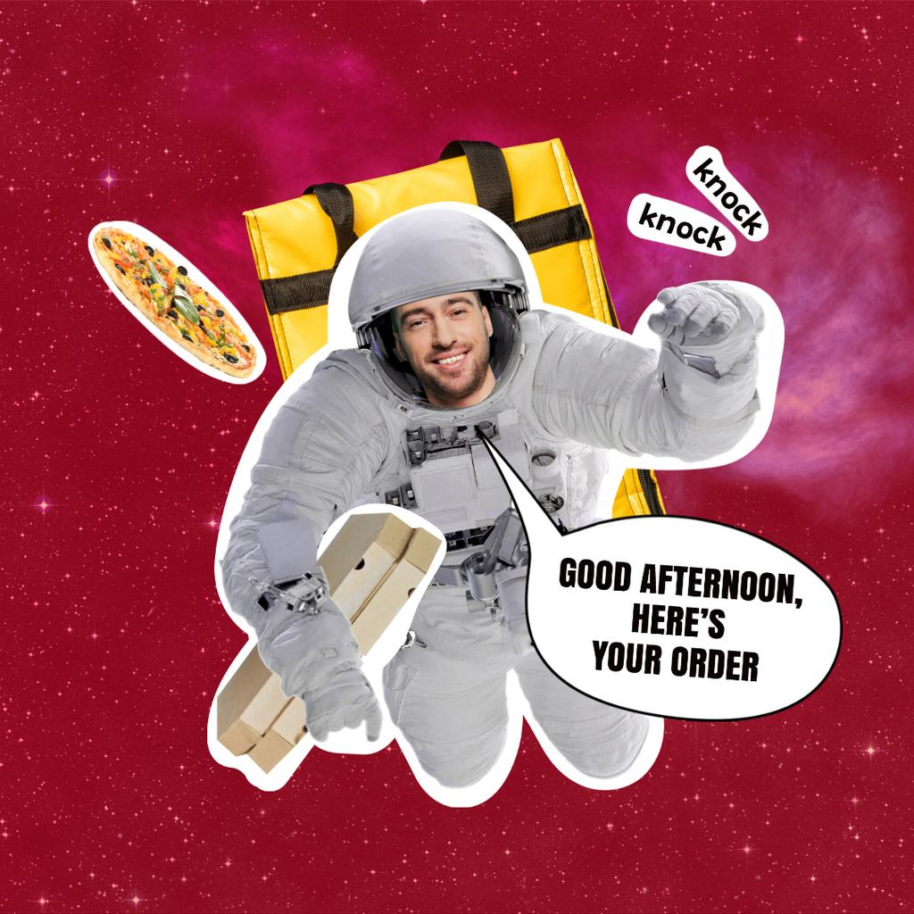 Funny Astronaut Delivery Man with Pizza Instagram – шаблон для дизайна
