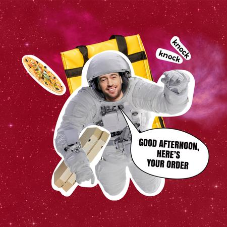 Funny Astronaut Delivery Man with Pizza Instagram Design Template
