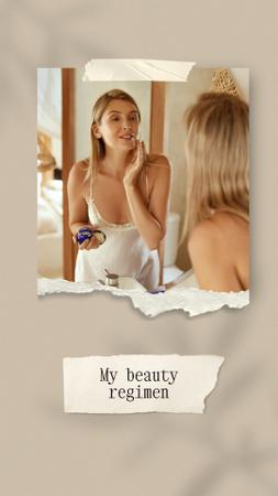 Beauty Ad with Woman applying Cream Instagram Video Story Modelo de Design