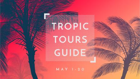 Plantilla de diseño de Summer Trip Offer Palm Trees in red FB event cover