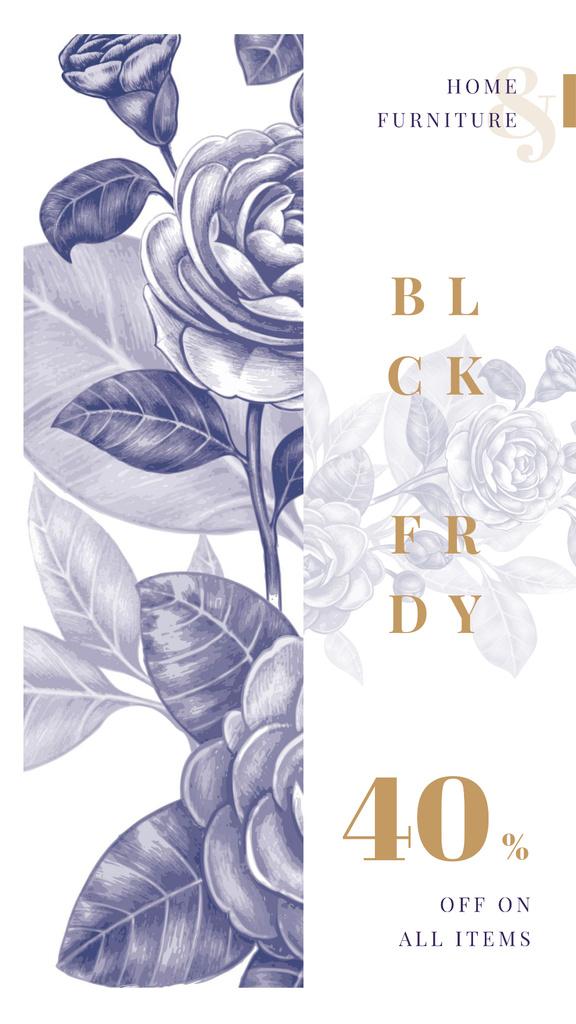 Black Friday Sale Flowers illustration in contour — Modelo de projeto