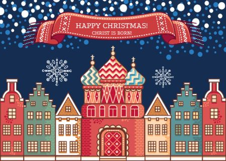 Happy Christmas Greeting with Snowy Night Town Postcard Modelo de Design