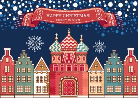 Template di design Happy Christmas Greeting with Snowy Night Town Postcard