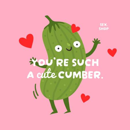 Sex Shop Ad with Funny Cucumber Instagram – шаблон для дизайну