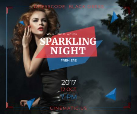 Sparkling night party poster Medium Rectangle Modelo de Design