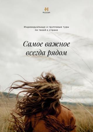 Travel Quote Woman with Waving Hair in Field Poster – шаблон для дизайна