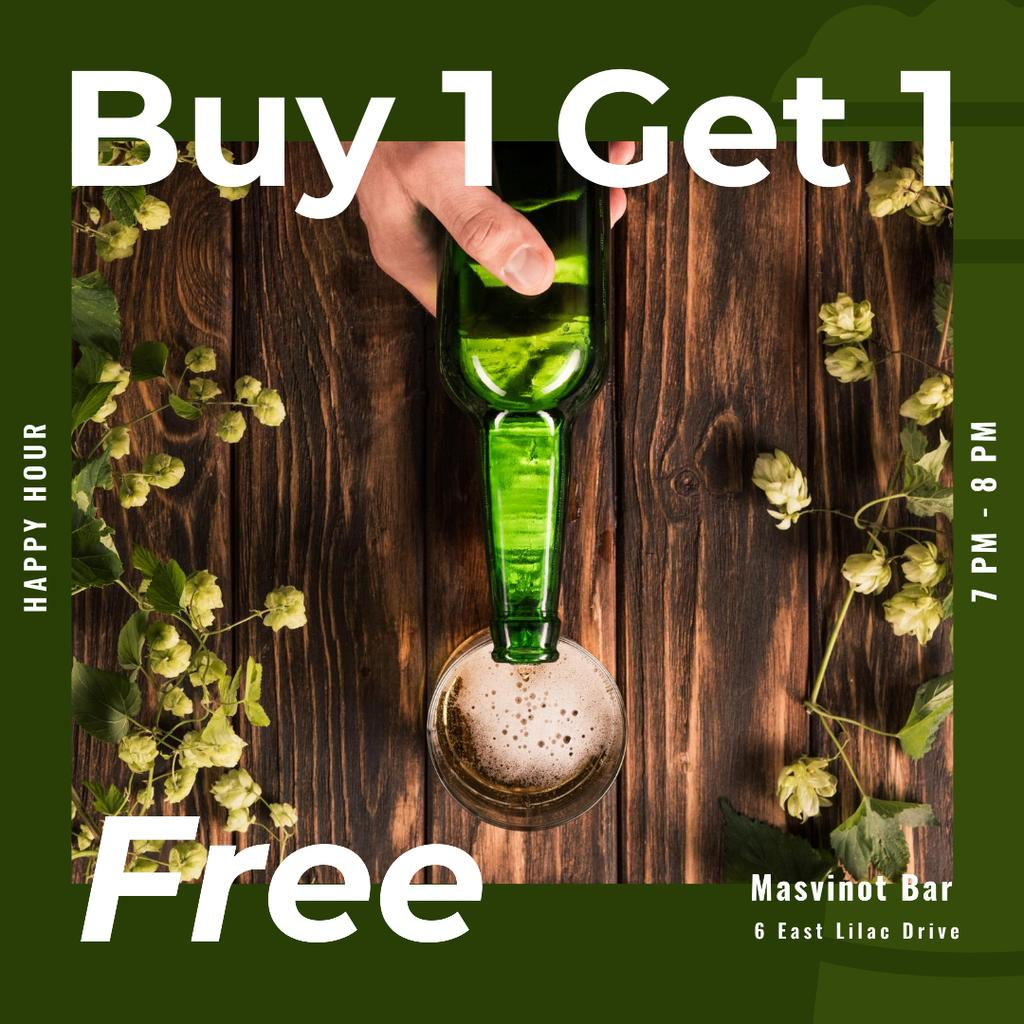 Bar St.Patricks Day Offer with Bottle and greens Instagram Modelo de Design