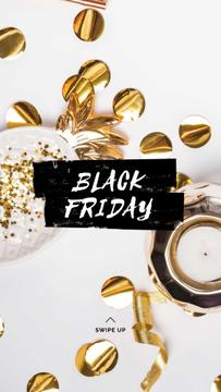 Black Friday sale with golden confetti