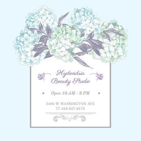 Hydrangea beauty studio ad in Blue Instagram AD Modelo de Design