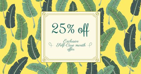 Template di design Selfcare Month Offer with Feathers Pattern Facebook AD