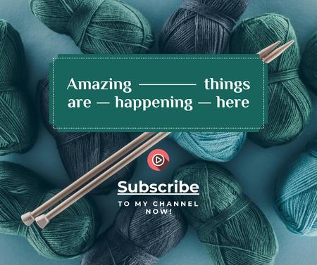 Knitting Lessons wool Yarn in Blue Facebookデザインテンプレート