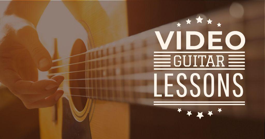 Plantilla de diseño de Video Guitar Lessons Man Playing Music Facebook AD