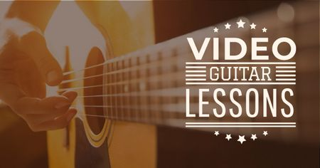 Ontwerpsjabloon van Facebook AD van Video Guitar Lessons Man Playing Music