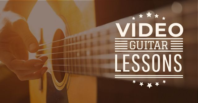 Designvorlage Video Guitar Lessons Man Playing Music für Facebook AD