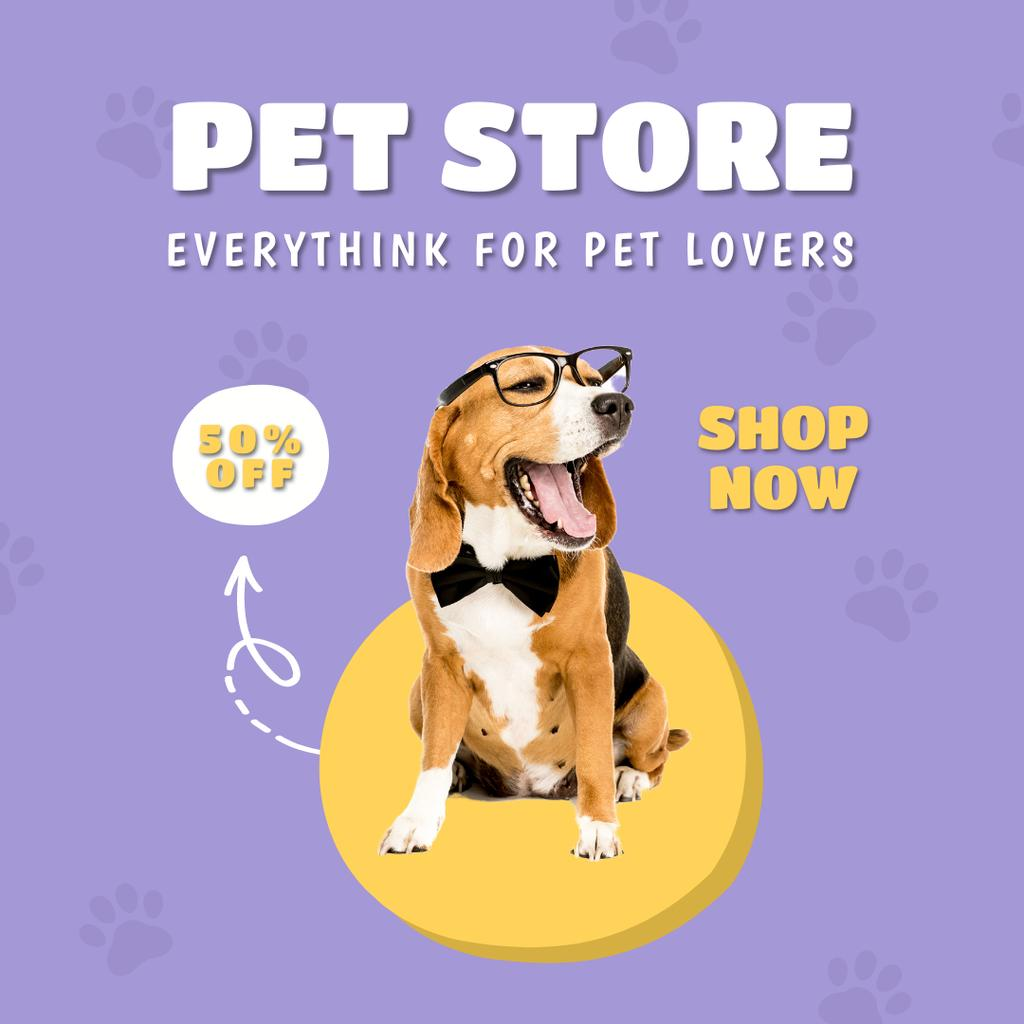 Plantilla de diseño de Pet Store Offer with Cute Dog in Glasses Instagram