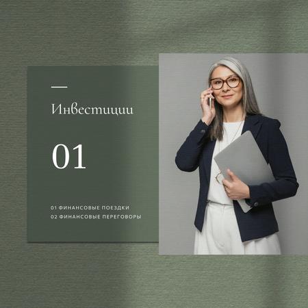 Confident Businesswoman for investment concept Instagram – шаблон для дизайна