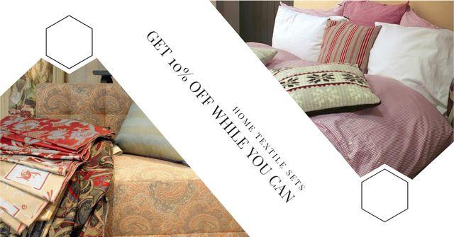 Home Textile Offer with Cozy bedroom Facebook AD Modelo de Design