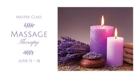 Massage Therapy Masterclass Announcement with Aroma Candles FB event cover Design Template