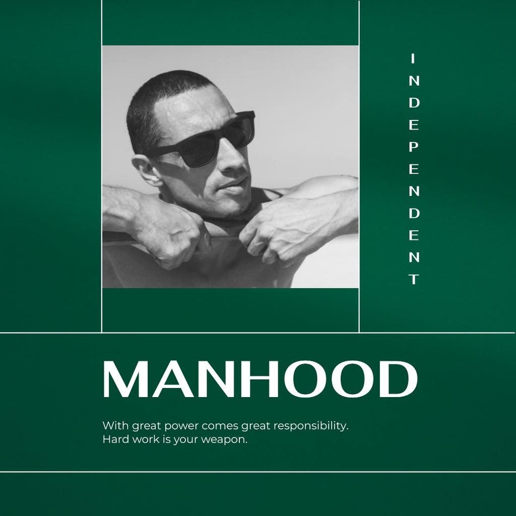 Template di design Manhood Inspiration with Confident Man Instagram