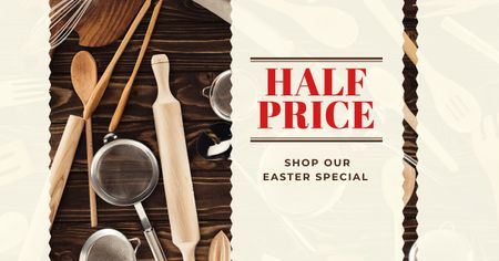 Easter Sale Offer with Baking Tools Facebook ADデザインテンプレート