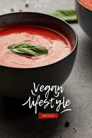 Vegan Lifestyle Concept with Delicious Cake Pinterest Design Template