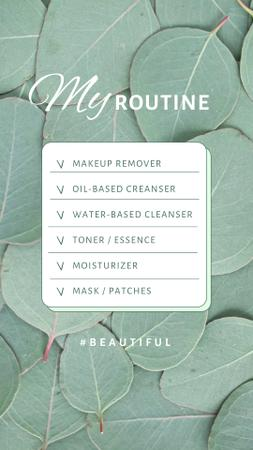 Daily Beauty Routine List with Green Leaves Instagram Video Story Modelo de Design