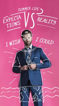 Designvorlage Funny Illustration of Summer Outfit on Businessman für Instagram Story