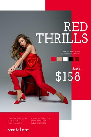 Woman in stunning Red Outfit Pinterestデザインテンプレート