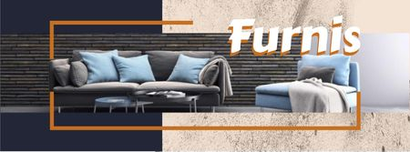 Furniture Offer with Stylish Grey Sofa Facebook cover – шаблон для дизайна
