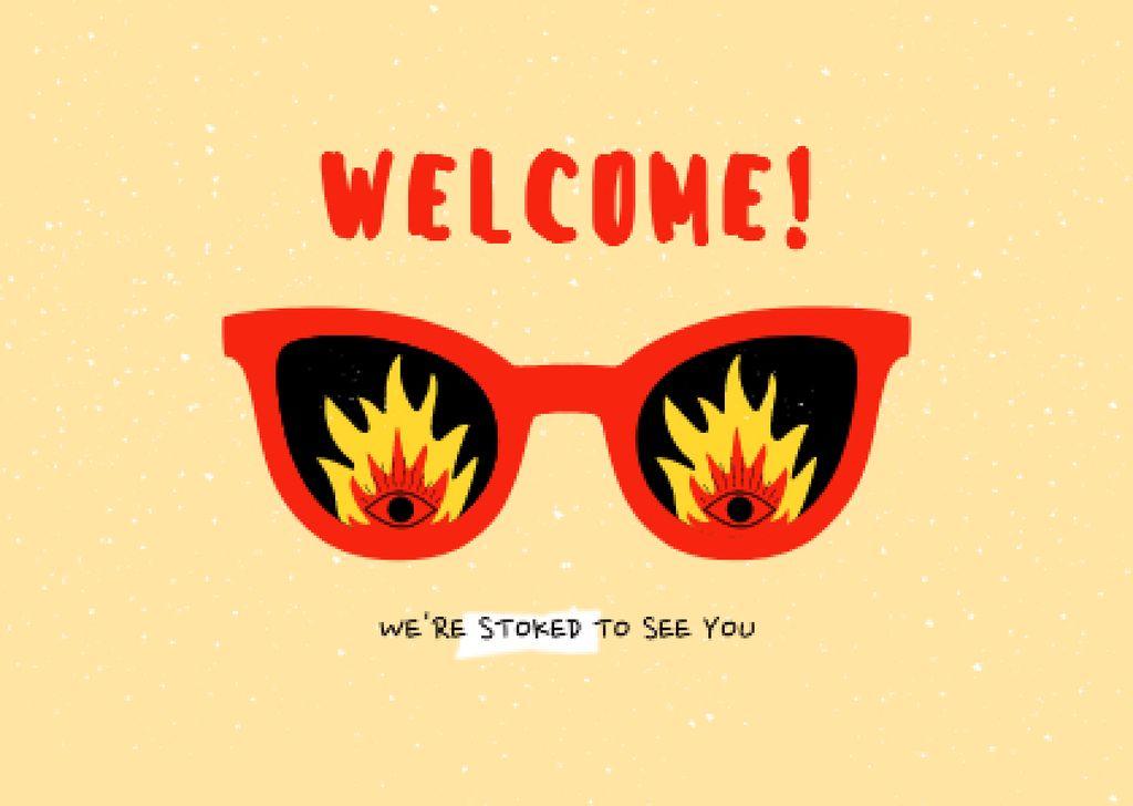 Funny Sunglasses with Fire Lenses Card – шаблон для дизайна